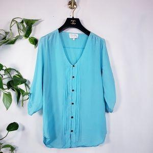 YUMI KIM Blue 100% Silk Button Front Blouse M